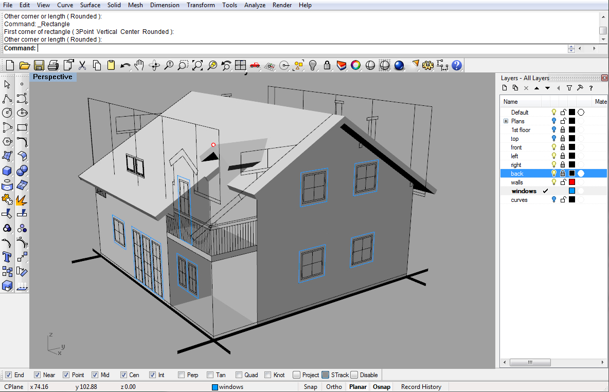 Modeling a simple house part 2 rhinoceros 3d help Simple cad online