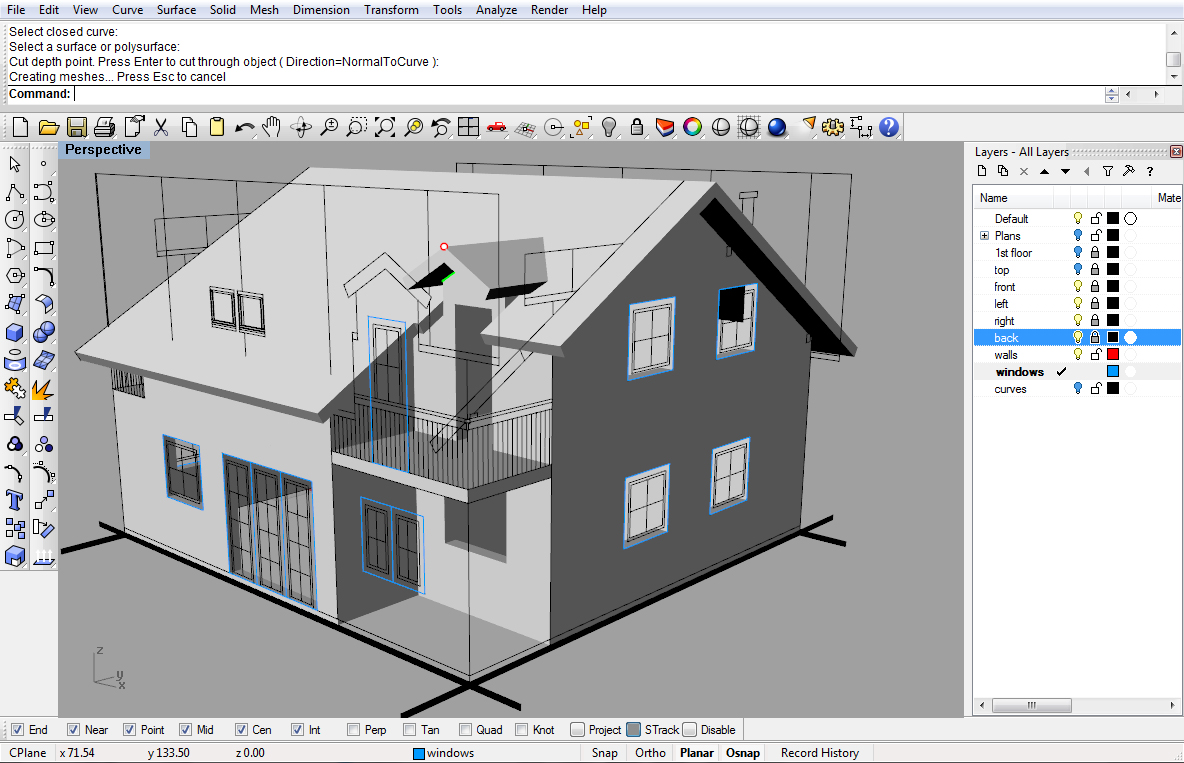 Modeling a simple house part 2 rhinoceros 3d help for Easy architectural software