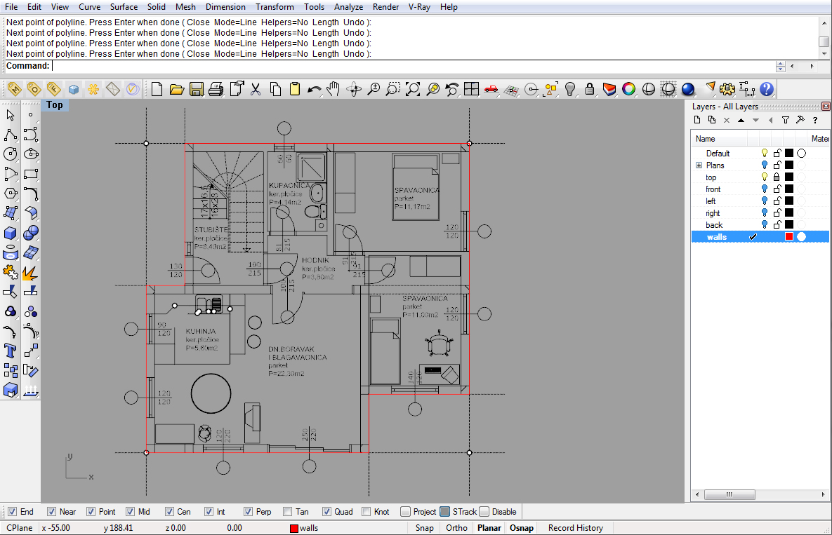 Modeling a simple house part 1 rhinoceros 3d help for Site plan design software