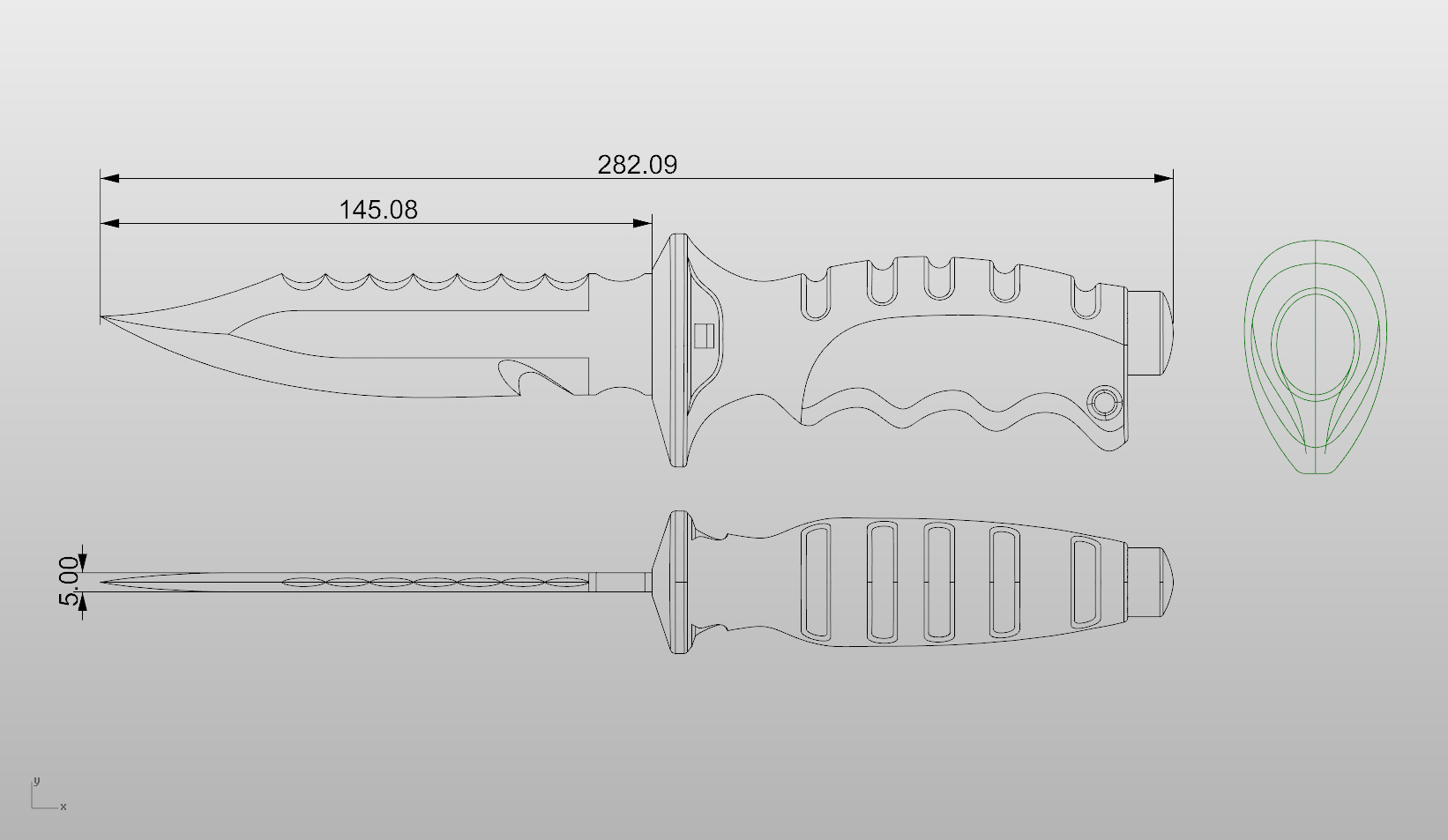 Modeling diving knife tutorial in rhino rhinoceros 3d help blueprints reference malvernweather Choice Image